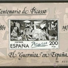 Sellos: ESPAÑA 1981 HOJITA CENTENARIO DE PICASSO EDIFIL NUM. 2631 ** NUEVA SIN FIJASELLOS. Lote 222637378