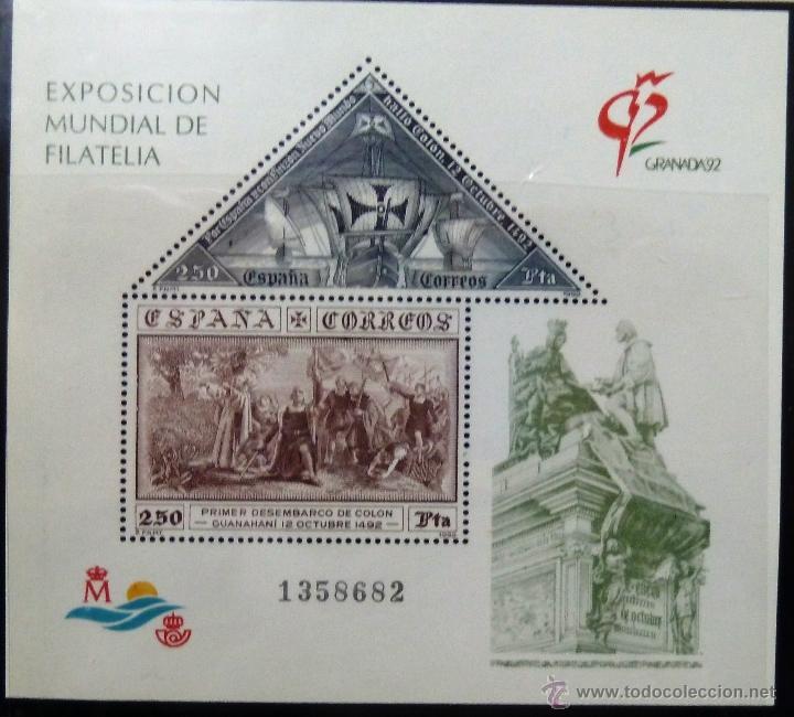 HOJITA BLOQUE. EXPOSICION MUNDIAL DE FILATELIA GRANADA 92. (Sellos - España - Juan Carlos I - Desde 1.986 a 1.999 - Nuevos)