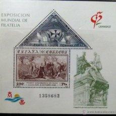 HOJITA BLOQUE. EXPOSICION MUNDIAL DE FILATELIA GRANADA 92.
