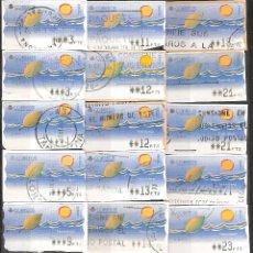 Sellos: ATM PESETAS COLECCION DE 42 ATMS NATURALEZA CIRCULADOS DISTINTOS VALORES Y VARIANTES DE IMPRESION. Lote 40978703