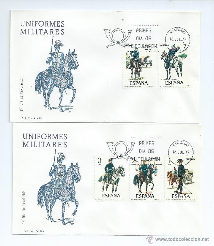 UNIFORMES MILITARES, AÑO 1977, Nº 2381/85, S.P.D. (Sellos - España - Juan Carlos I - Desde 1.975 a 1.985 - Cartas)