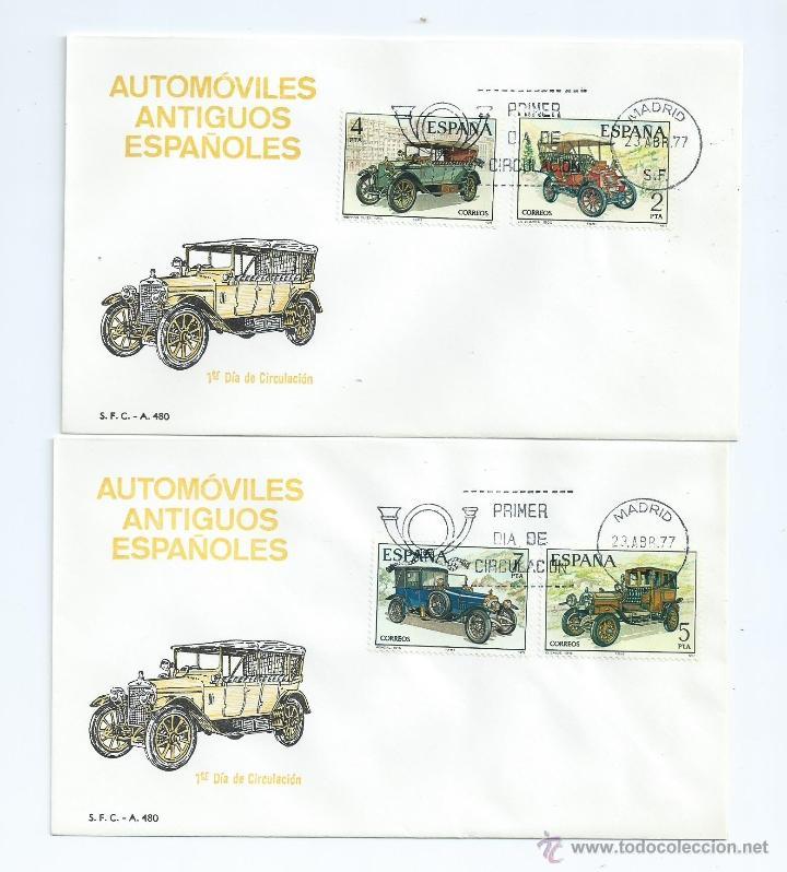 AUTOMOVILES ANTIGUOS ESPAÑOLES, AÑO 1977, Nº 2409/12, 2 S.P.D. (Sellos - España - Juan Carlos I - Desde 1.975 a 1.985 - Cartas)