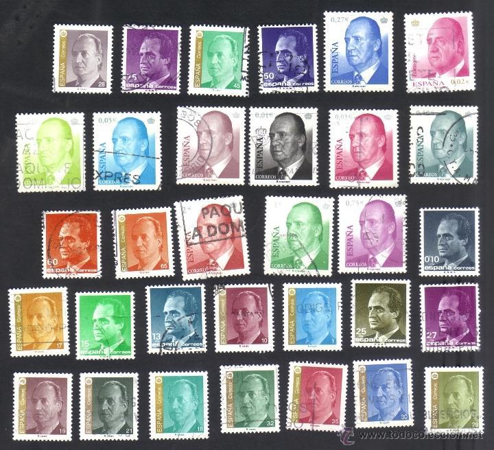 LOTE 32 SELLOS USADOS, DIFERENTES DE S.M. DON JUAN CARLOS I (Sellos - España - Juan Carlos I - Desde 1.975 a 1.985 - Usados)