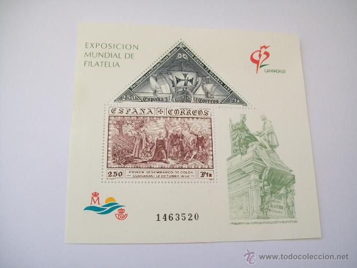 HOJITA BLOQUE: EXPOSICIÓN MUNDIAL DE FILATELIA- GRANADA 92.-HB 3195 (Sellos - España - Juan Carlos I - Desde 1.986 a 1.999 - Nuevos)