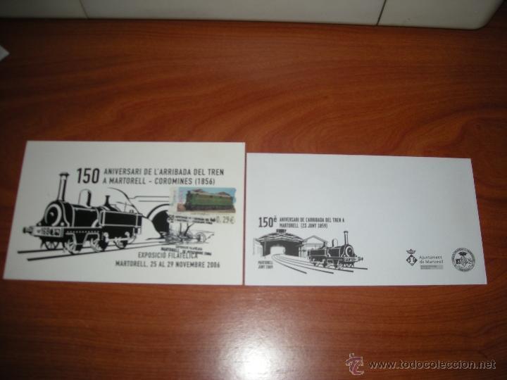 LOTE DE SOBRE Y TARJETA CON MATASELLOS CONMEMORATIVO DE FERROCARRIL. VER DESCRIPCIÓN (Sellos - España - Juan Carlos I - Desde 2.000 - Cartas)