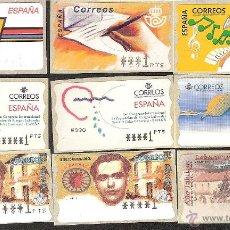 Sellos: ATM ESPAÑA PESETAS 9 ETIQUETAS VALOR MÍNIMO -LIQ.COLEC.-. Lote 42171462