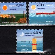 Sellos: ESPAÑA 4584/86** - AÑO 2010 - ENERGÍAS RENOVABLES - BIOMASA - MAREOMOTRIZ - UNDIMOTRIZ. Lote 42319763