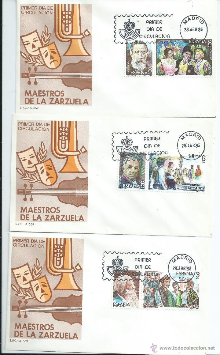 MAESTROS DE LA ZARZUELA, AÑO 1982 SOBRES P.D. COLECCION COMPLETA (Sellos - España - Juan Carlos I - Desde 1.975 a 1.985 - Cartas)