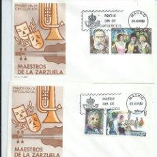 Sellos: MAESTROS DE LA ZARZUELA, AÑO 1982 SOBRES P.D. COLECCION COMPLETA. Lote 42552452