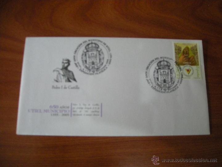 SOBRE ILUSTRADO CON MATASELLOS CONMEMORATIVO DEL 650 ANVIERSARIO DE UTIEL. VER DESCRIPCIÓN (Sellos - España - Juan Carlos I - Desde 2.000 - Cartas)