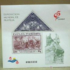 Sellos: HOJA DE DOS SELLOS, EDIFIL 3195, EXPOSICION MUNDIAL DE FILATELIA, GRANADA 92, IMPECABLE. Lote 43039402