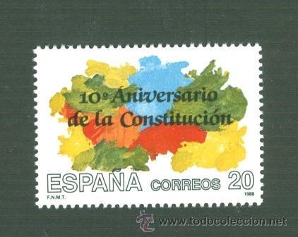 X ANIVERSARIO DE LA CONSTITUCIÓN ESPAÑOLA DE 1978. 1988. EDIFIL 2982 (Sellos - España - Juan Carlos I - Desde 1.986 a 1.999 - Nuevos)