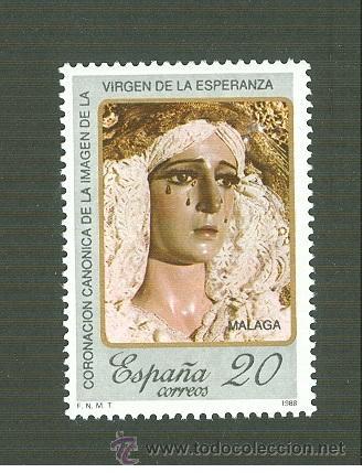 CORONACIÓN CANÓNICA DE LA IMAGEN DE LA VIRGEN DE LA ESPERANZA. MÁLAGA. 1988. EDIFIL 2954 (Sellos - España - Juan Carlos I - Desde 1.986 a 1.999 - Nuevos)