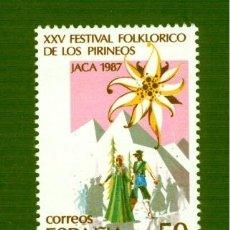 Sellos: XXV FESTIVAL FOLKLÓRICO DE LOS PIRINEOS, EN JACA. 1987. EDIFIL 2910. Lote 165067338