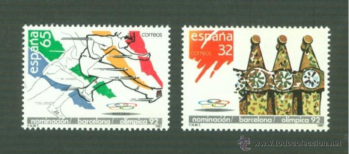 NOMINACIÓN DE BARCELONA COMO SEDE OLÍMPICA 1982. 1987. EDIFIL 2908-09 (Sellos - España - Juan Carlos I - Desde 1.986 a 1.999 - Nuevos)