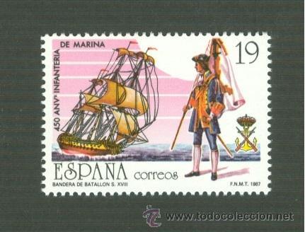 450 ANIVERSARIO DE LA CREACIÓN DEL CUERPO DE INFANTERÍA DE MARINA. 1987. EDIFIL 2885 (Sellos - España - Juan Carlos I - Desde 1.986 a 1.999 - Nuevos)