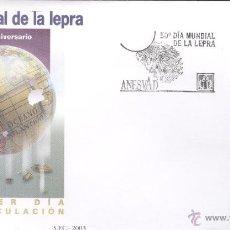Sellos: DIA MUNDIAL DE LA LEPRA. SOBRE Y SELLO PRIMER DÍA DE CIRCULACIÓN. AÑO 2003. Lote 43892610