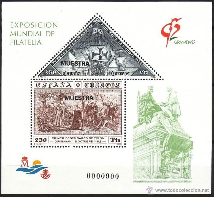 ESPAÑA. 1992. EXPOSICIÓN MUNDIAL DE FILATELIA GRANADA'92. EDIFIL 3195 MUESTRA (Sellos - España - Juan Carlos I - Desde 1.986 a 1.999 - Nuevos)