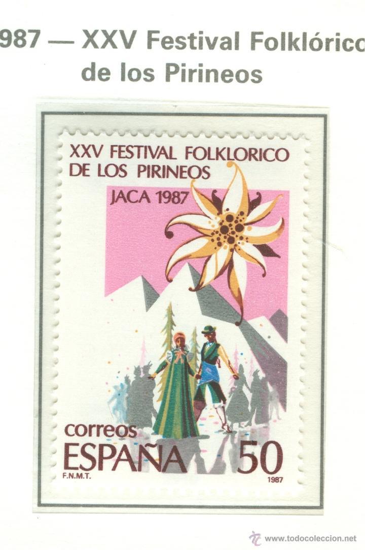 XXV FESTIVAL FOLKLÓRICO DE LOS PIRINEOS, EN JACA. 1987. EDIFIL 2910 (Sellos - España - Juan Carlos I - Desde 1.986 a 1.999 - Nuevos)