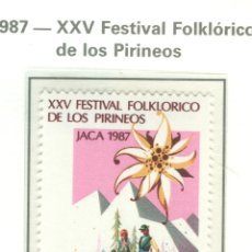 Sellos: XXV FESTIVAL FOLKLÓRICO DE LOS PIRINEOS, EN JACA. 1987. EDIFIL 2910. Lote 44761325