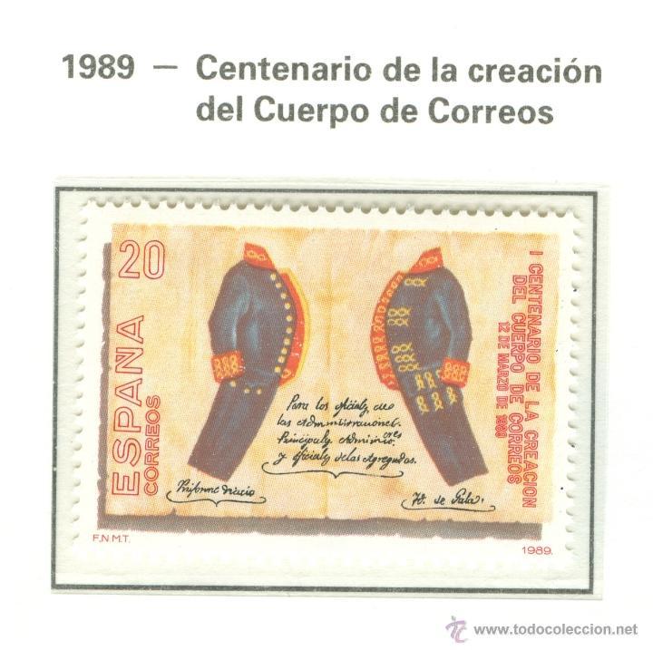 I CENTENARIO DE LA CREACIÓN DEL CUERPO DE CORREOS. 1989. EDIFIL 2998 (Sellos - España - Juan Carlos I - Desde 1.986 a 1.999 - Nuevos)