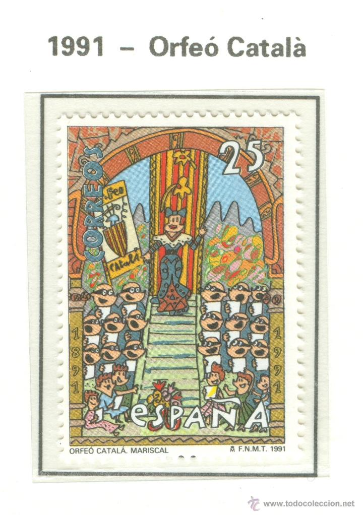 I CENTENARIO DEL ORFEÓN CATALÁN. 1991. EDIFIL 3126 (Sellos - España - Juan Carlos I - Desde 1.986 a 1.999 - Nuevos)