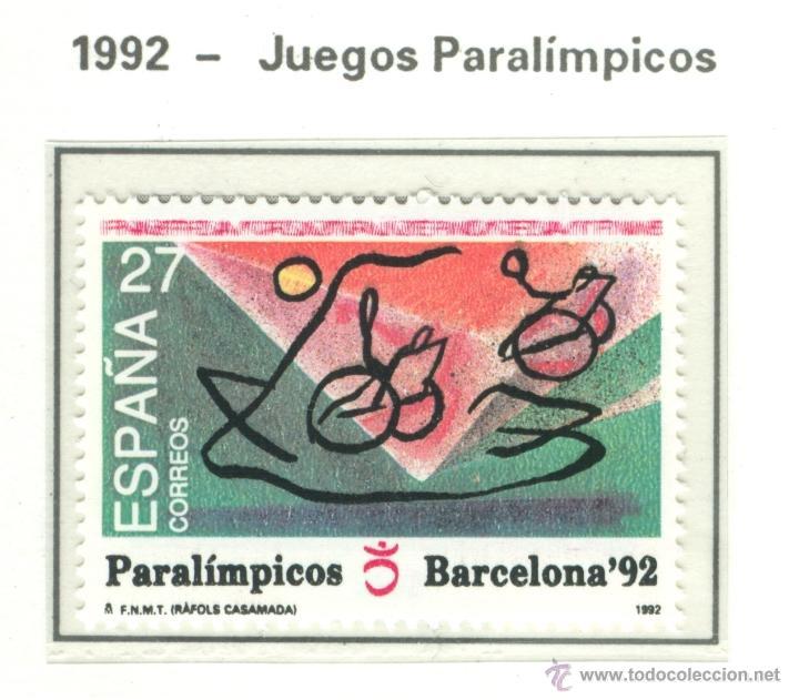 JUEGOS PARALÍMPICOS. 1992. EDIFIL 3192 (Sellos - España - Juan Carlos I - Desde 1.986 a 1.999 - Nuevos)