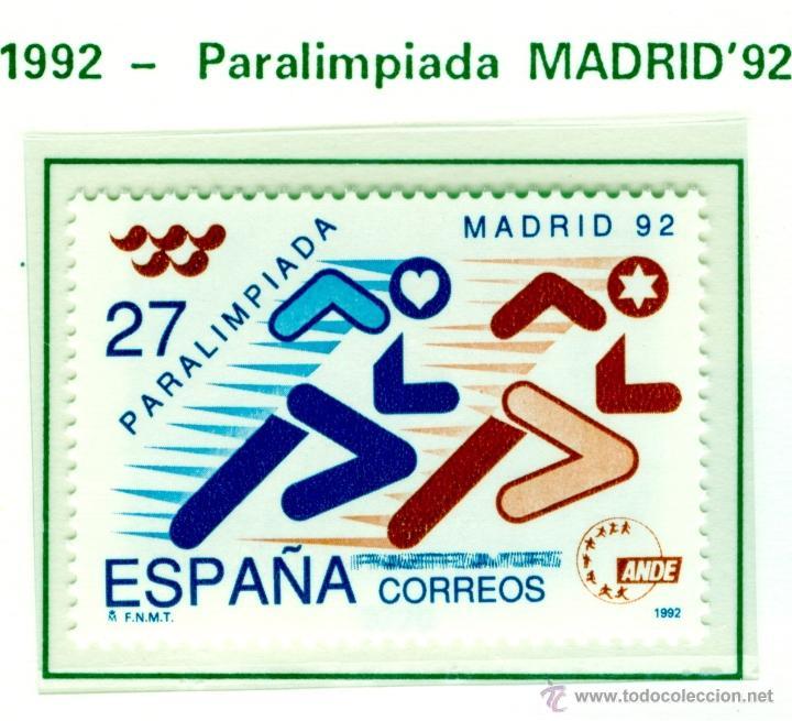PARALIMPIADA MADRID 92. 1992. EDIFIL 3220 (Sellos - España - Juan Carlos I - Desde 1.986 a 1.999 - Nuevos)