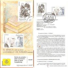 Sellos: HOJA RECUERDO PRIMER DIA EMISIÓN SERIE SELLOS LITERATURA ESPAÑOLA, 1997. Lote 44848264