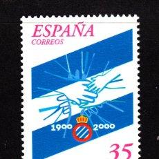 Sellos: ESPAÑA 3705** - AÑO 2000 - FUTBOL - CENTENARIO DEL R.C.D. ESPAÑOL DE BARCELONA. Lote 112842587