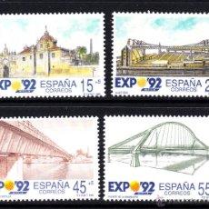 Sellos: ESPAÑA 3100/103** - AÑO 1991 - EXPO 92 SEVILLA - LA CARTUJA - PUENTE DE LA BARQUETA. Lote 45039341
