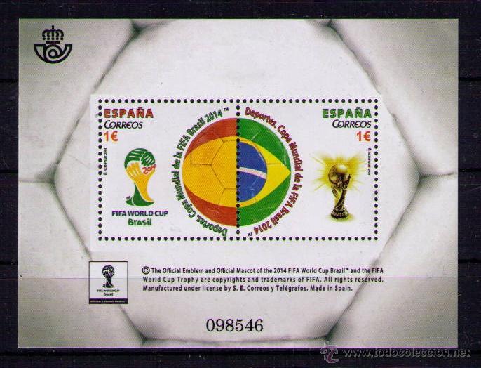 ESPALA 2014 - CAMPEONATO DEL MUNDO DE FUTBOL BRASIL 2014 - BLOCK (Sellos - España - Juan Carlos I - Desde 2.000 - Nuevos)