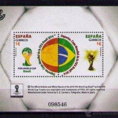 Sellos: ESPALA 2014 - CAMPEONATO DEL MUNDO DE FUTBOL BRASIL 2014 - BLOCK. Lote 45527698