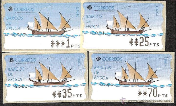 ATM ESPAÑA PESETAS SERIE 4 DIG. EPELSA DE BARCOS DE EPOCA Y VALOR MINIMO--LIQ.COLECCION-- (Sellos - España - Juan Carlos I - Desde 1.986 a 1.999 - Nuevos)