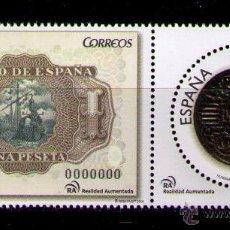 Sellos: ESPAÑA 2014 - NUMISMATICA - BILLETE Y MONEDA DE 1 PESETA - 2 SELLOS SE-TENANT - EDIFIL Nº 4919-4920. Lote 46156214