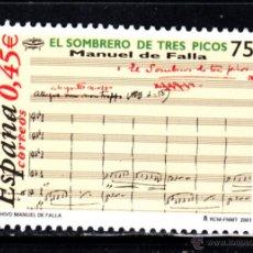 Sellos: ESPAÑA 3838** - AÑO 2001 - MUSICA - HOMENAJE A MANUEL DE FALLA. Lote 46245930
