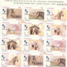 Sellos: ESPAÑA 2000- EDIFIL 3723 AL 3728A-NUEVOS-SERIE COMPLETA-CABALLOS CARTUJANOS. Lote 63631035