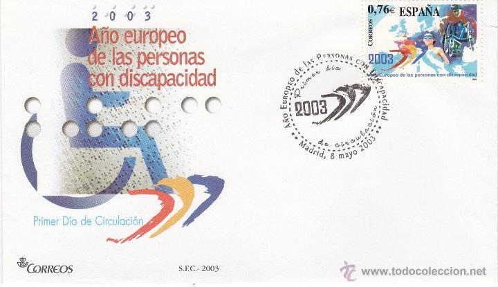 MADRID.- SOBRE DE PRIMER DIA DE AÑO EUROPEO DE LAS PERSONAS CON DISCAPACIDAD, SELLO Nº 3985 (Sellos - España - Juan Carlos I - Desde 2.000 - Cartas)