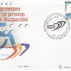 Sellos: MADRID.- SOBRE DE PRIMER DIA DE AÑO EUROPEO DE LAS PERSONAS CON DISCAPACIDAD, SELLO Nº 3985. Lote 242288055