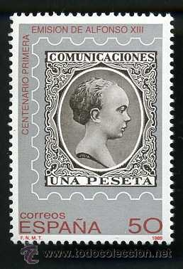 SELLO DE 50 PESETAS DE 1989 ( PELON ) CENTENARIO DE LA PRIMERA EMISION DE ALFONSO XIII - Nº2 (Sellos - España - Juan Carlos I - Desde 1.975 a 1.985 - Nuevos)