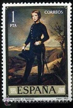 SELLO DE 1 PESETA DE 1977 - PINTURA DE FEDERICO MADRAZO - DIA DEL SELLO - Nº2 (Sellos - España - Juan Carlos I - Desde 1.975 a 1.985 - Nuevos)