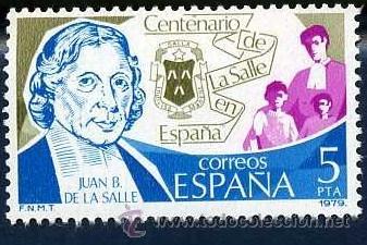 SELLO DE 8 PESETAS DE 1979 - CENTENARIO DE JUAN BAUTISTA DE LA SALLE - Nº2 (Sellos - España - Juan Carlos I - Desde 1.975 a 1.985 - Nuevos)