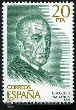 SELLO DE 20 PESETAS DE 1979 - GREGORIO MARAÑON - MEDICO Y CIENTIFICO ESPAÑOL - Nº4 (Sellos - España - Juan Carlos I - Desde 1.975 a 1.985 - Nuevos)