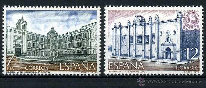 SERIE COMPLETA DE SELLOS DE 7 Y 12 PESETAS DE 1979 - AMERICA Y ESPAÑA - MONUMENTOS - Nº4 (Sellos - España - Juan Carlos I - Desde 1.975 a 1.985 - Nuevos)