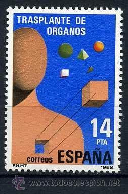 SELLO DE 14 PESTAS DE 1982 - TRANSPLANTE DE ORGAOS - Nº1 (Sellos - España - Juan Carlos I - Desde 1.975 a 1.985 - Nuevos)
