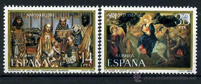 SERIE COMPLETA DE 2 SELLOS DE 14 Y 33 PESTAS DE 1982 - NAVIDAD - Nº4 (Sellos - España - Juan Carlos I - Desde 1.975 a 1.985 - Nuevos)