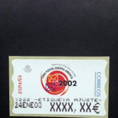Sellos: ATMS 2002 FORO POSTAL. ATM ETIQUETA POSTAL DE AJUSTE ANCHA.. Lote 47209014