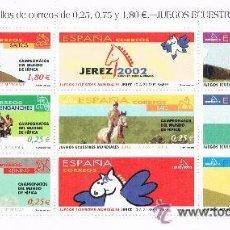 Sellos: JEREZ 2002 JUEGOS ECUESTRES HOJITA CON 7 SELLOS DE DIFERENTES VALORES. Lote 47320860