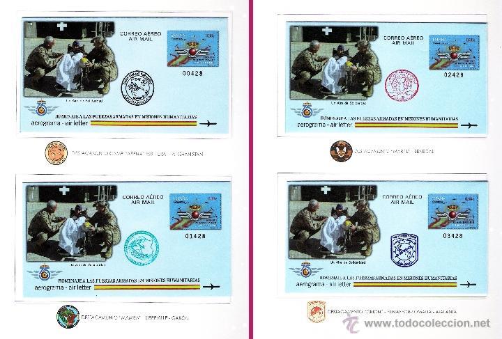 2014.-DOCUMENTOS CON 4 AEROGRAMA C.AEREO -HOMENAJE A FUERZAS ARMADAS EN EMISIONES HUMANITARIAS. MAT (Sellos - España - Juan Carlos I - Desde 2.000 - Cartas)