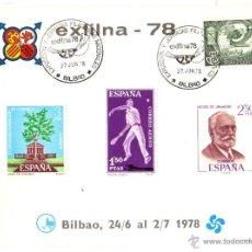 Sellos: HOJA RECUERDO OFICIAL ESPAÑA 1978. EXFILNA 78. FOURNIER, BILBAO 24/6 AL 2/7. . Lote 48193095